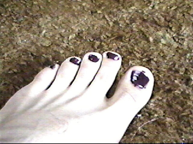 Toenails pained black