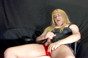 Crossdresser in a slip cums