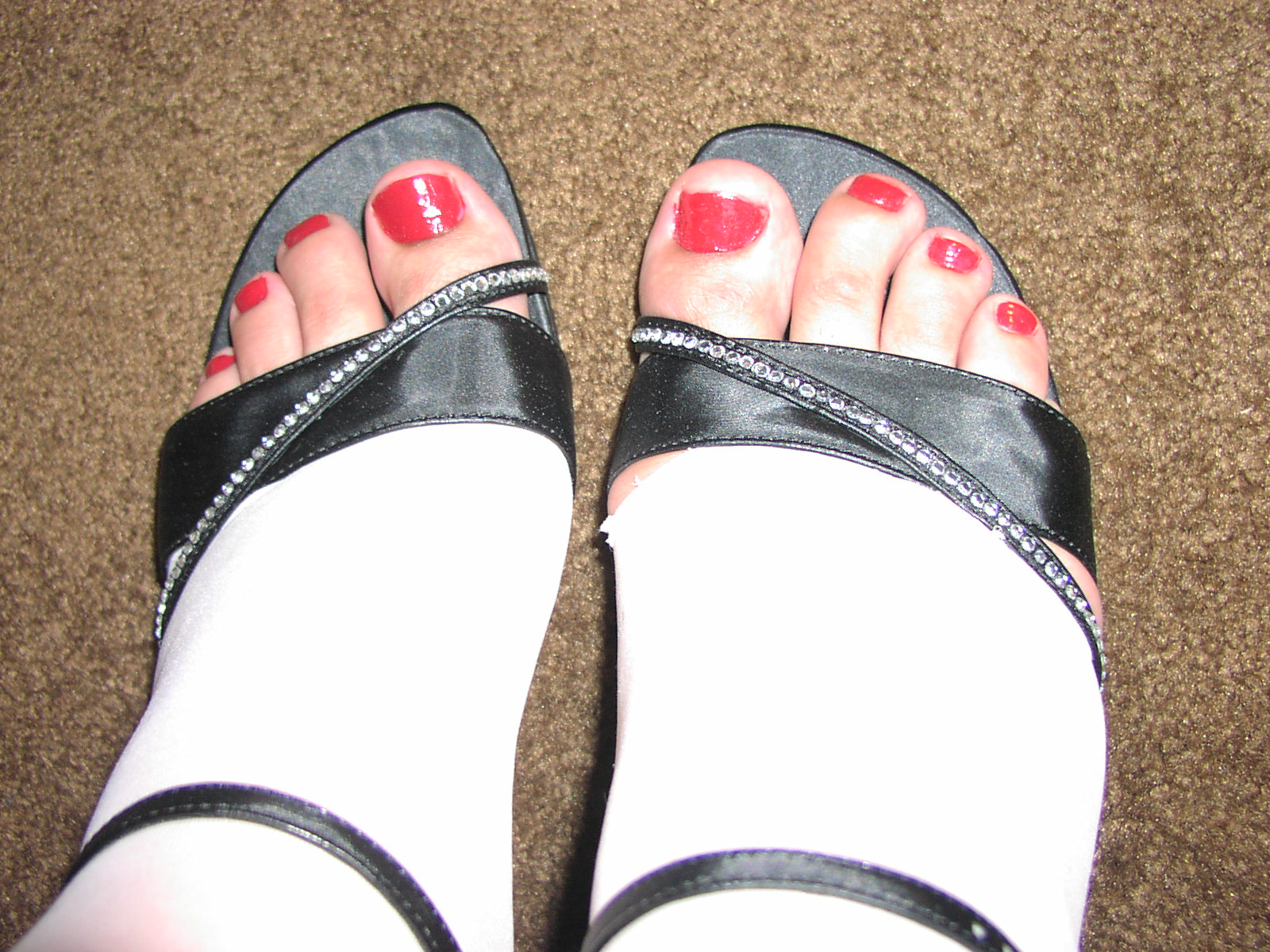 Toenails painted red