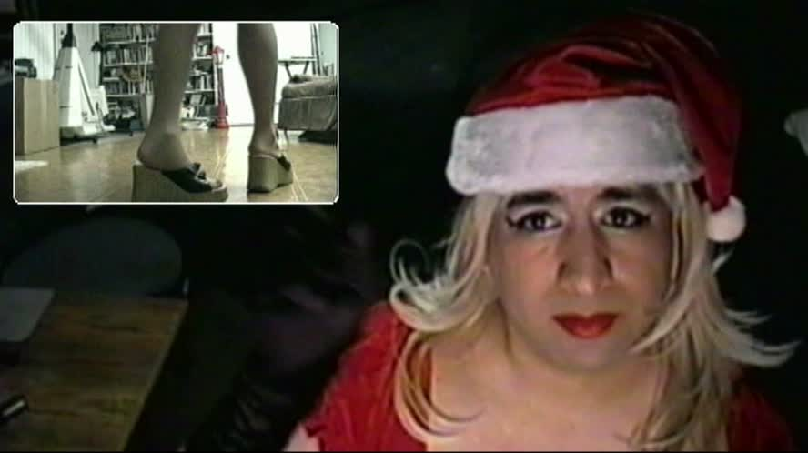 Transvestite Christmas Special in Black Stockings